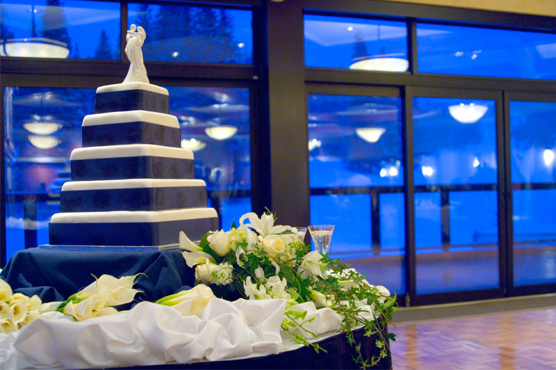 Wedding Cake in The Imperial Ballroom at Beaver Run Resort in Breckenridge