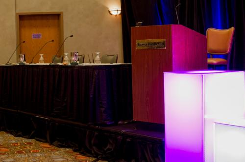 Conference Podium Setup at Beaver Run Resort in Breckenridge