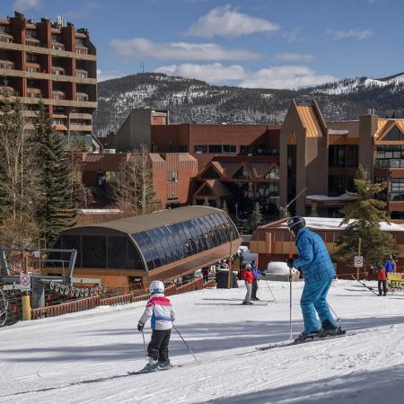 skiers in front of beaver run