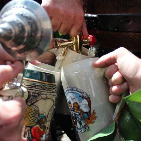 Oktoberfest stein filled up with beer
