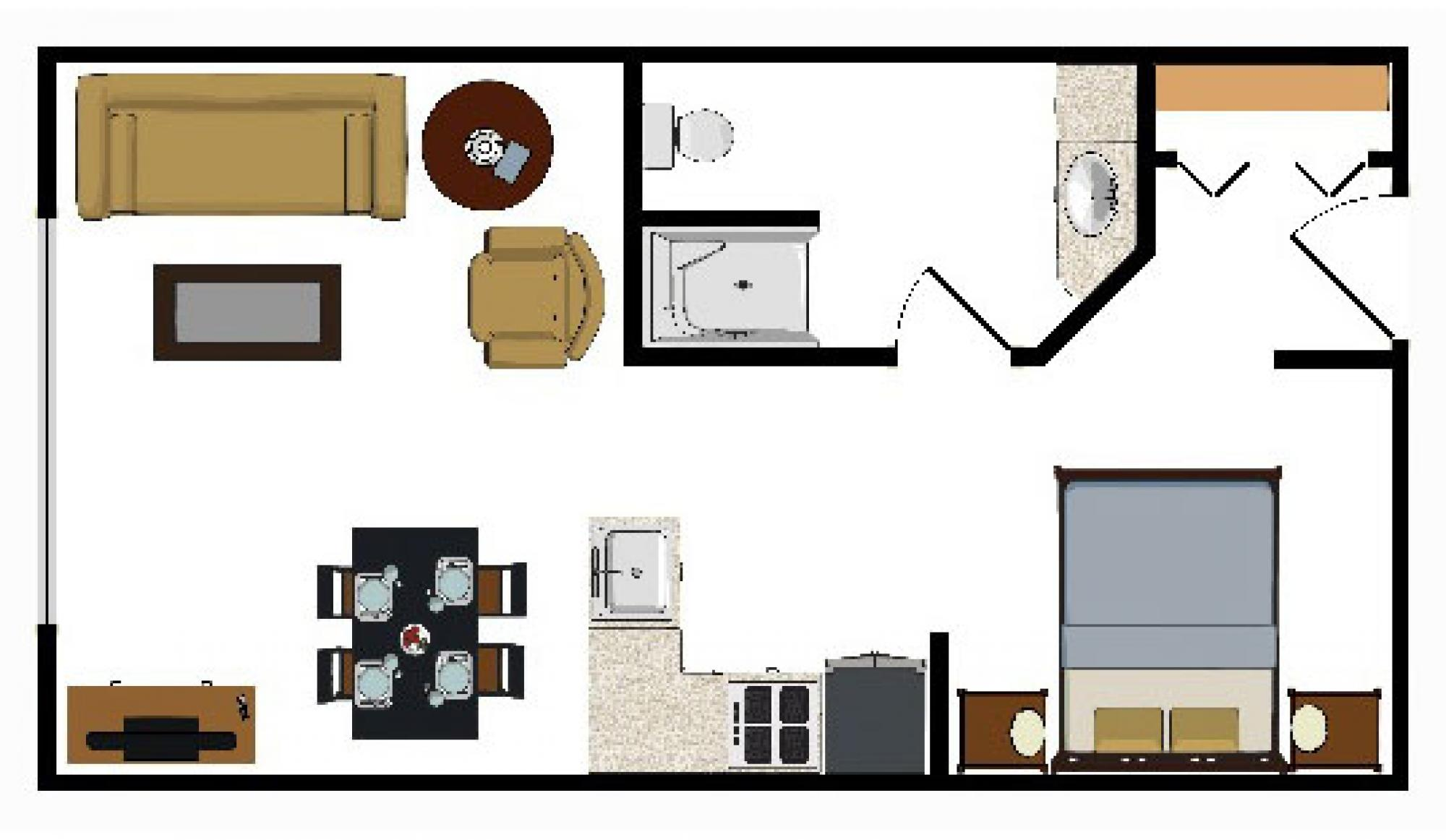 Beaver Run Resort Studio Floorplan in Breckenridge