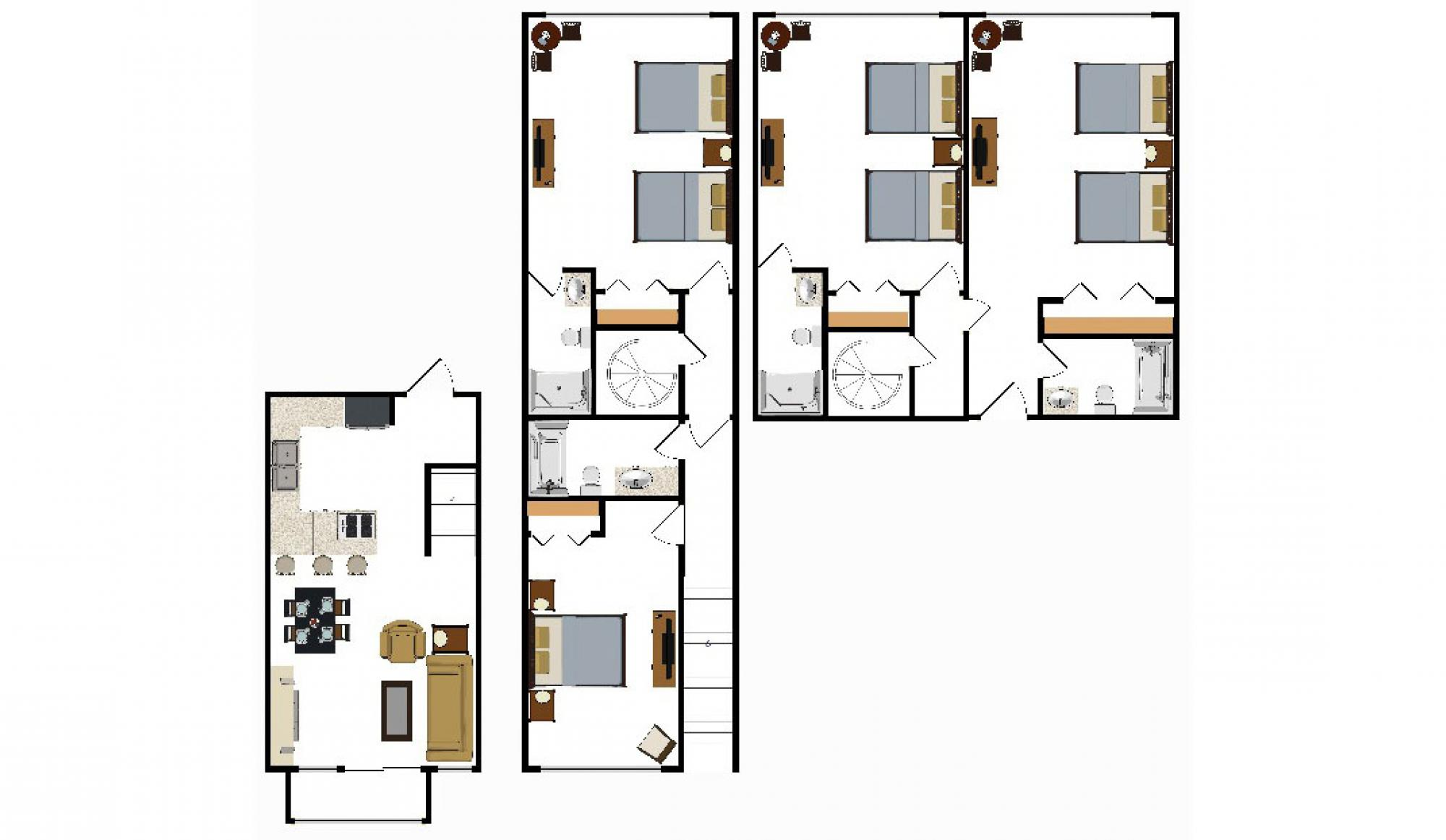 Beaver Run Resort 3 and 4 Bedroom Floor Plan in Breckenridge