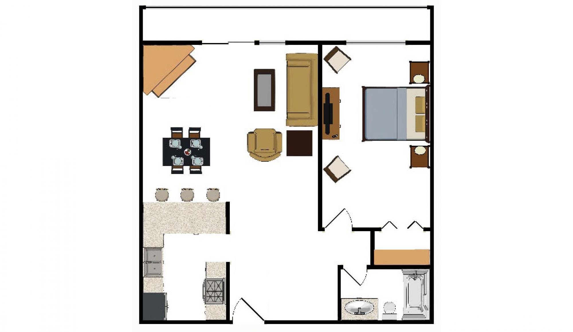 One Bedroom Condo Floor Plan at Beaver Run Resort in Breckenridge