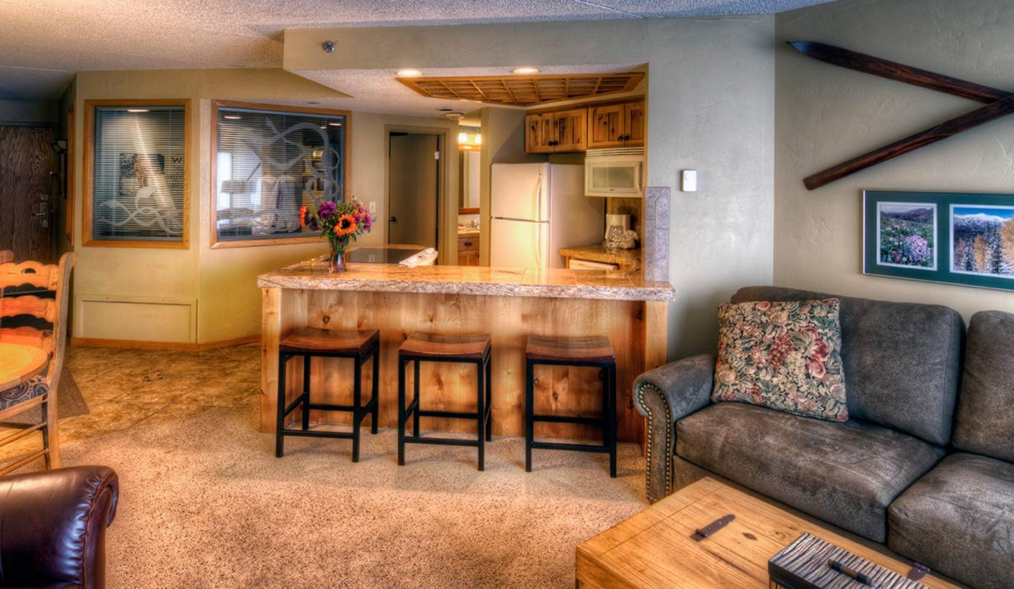 One Bedroom Suite Living Room in Building 4 at Beaver Run Resort in Breckenridge