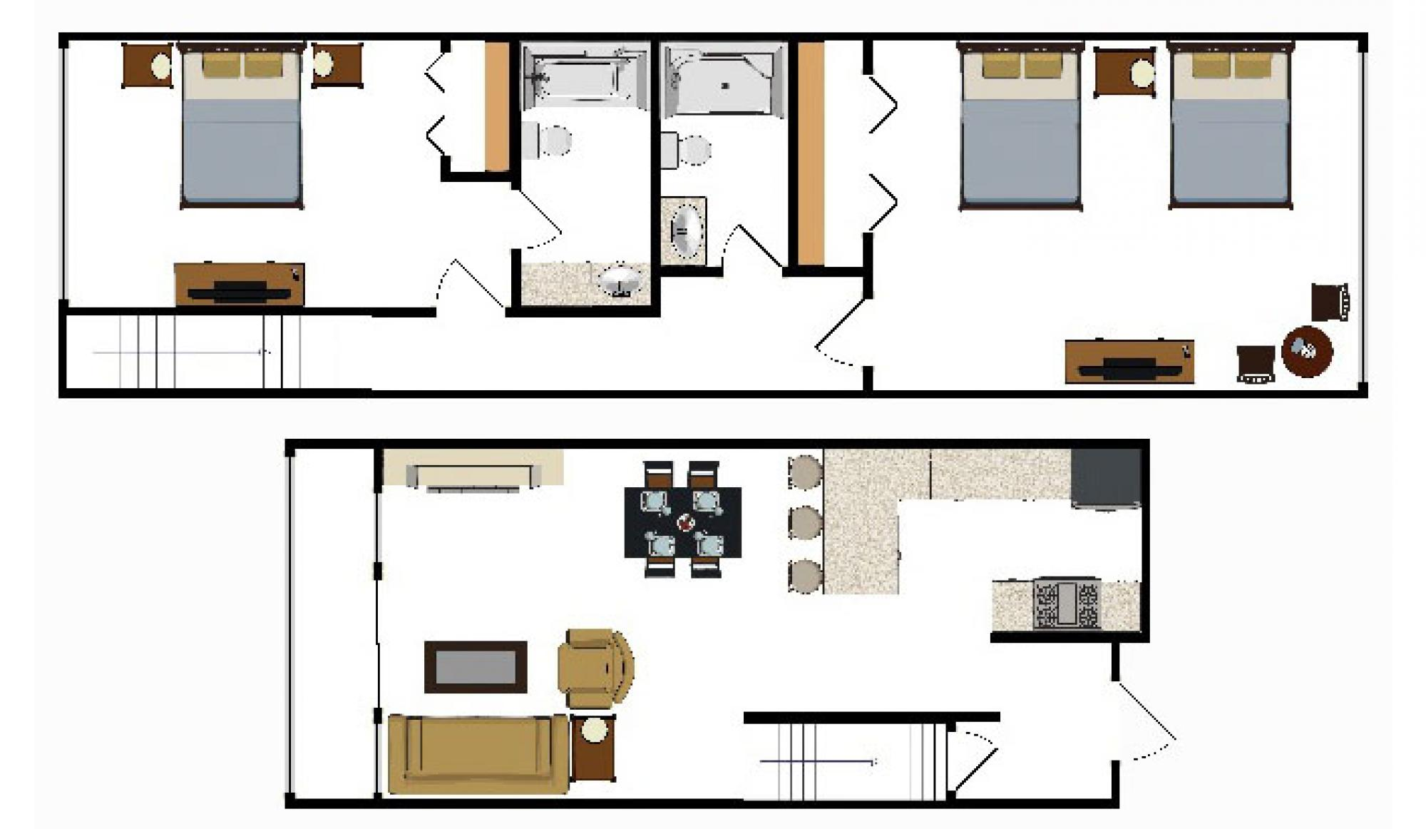 2 Bedroom Suite Floor Plan at Beaver Run Resort in Breckenridge