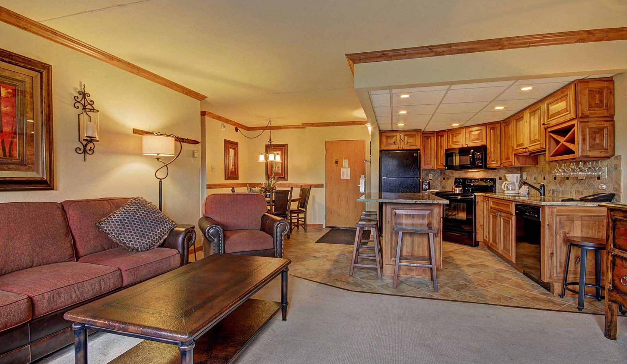 One Bedroom Condo Living Room at Beaver Run Resort in Breckenridge