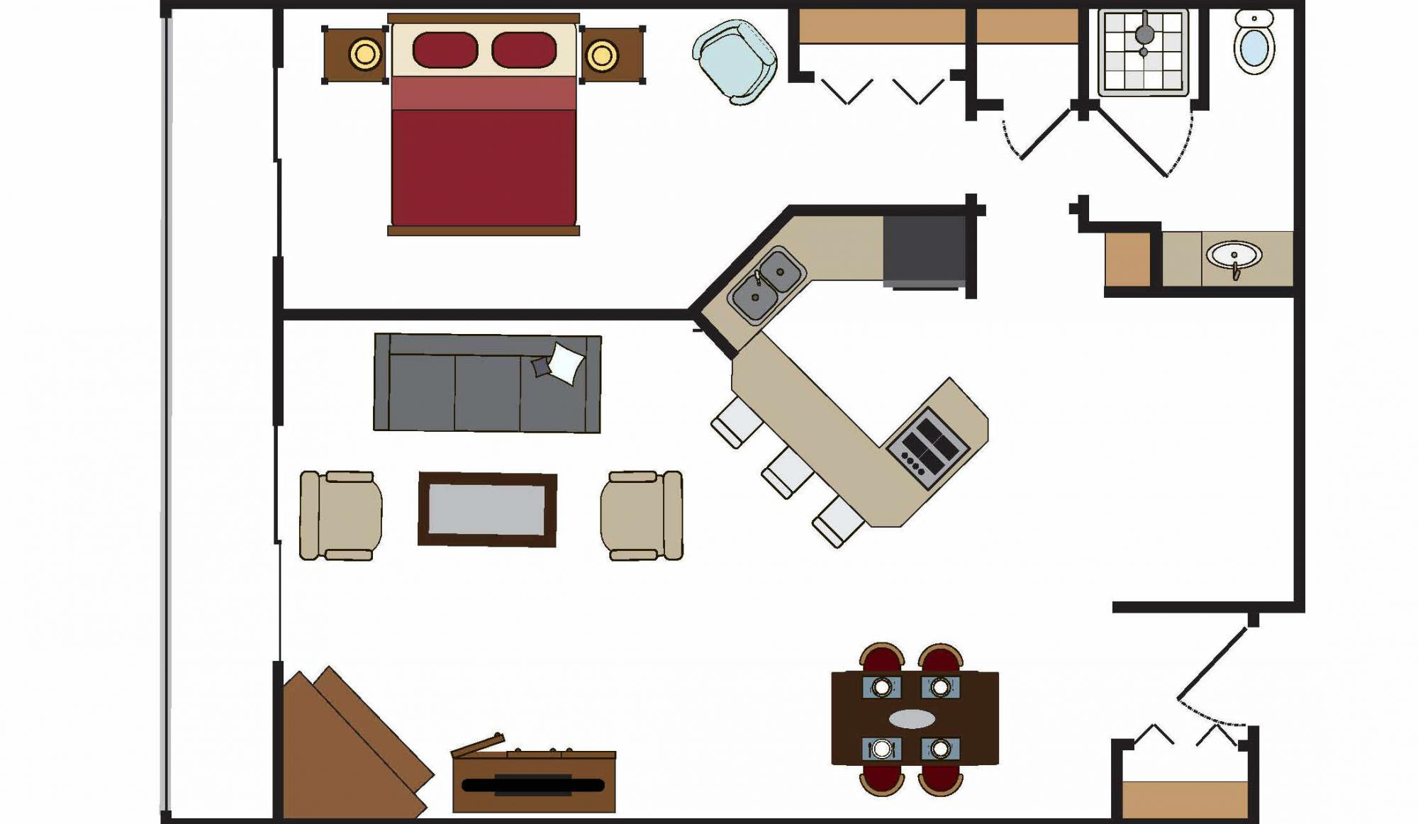 One Bedroom Suite Living Room Floor Plan in Building 4 at Beaver Run Resorts in Breckenridge
