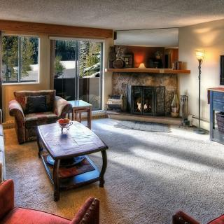 One Bedroom Condo Living Area Fireplace at Beaver Run Resort in Breckenridge