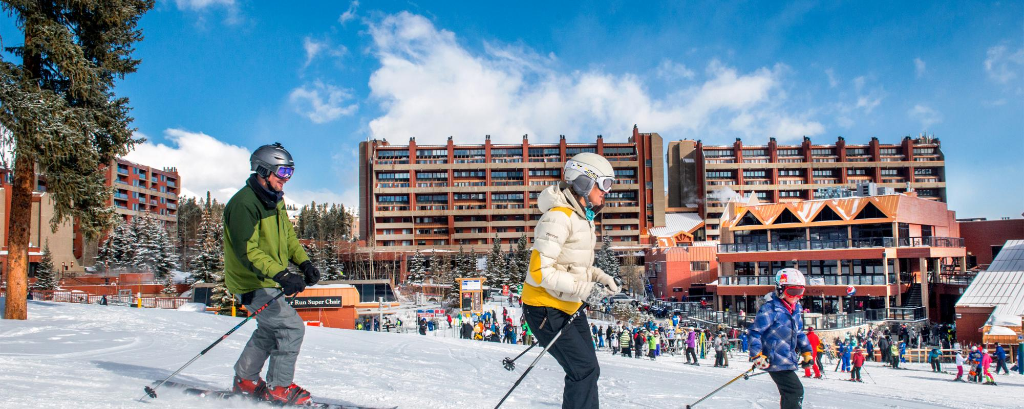 Skiers in front of Beaver Run Resort