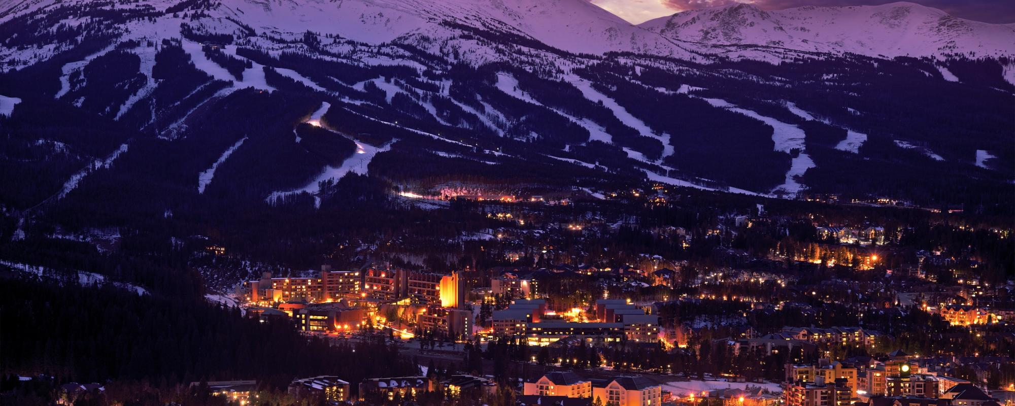 Breckenridge in winter at night