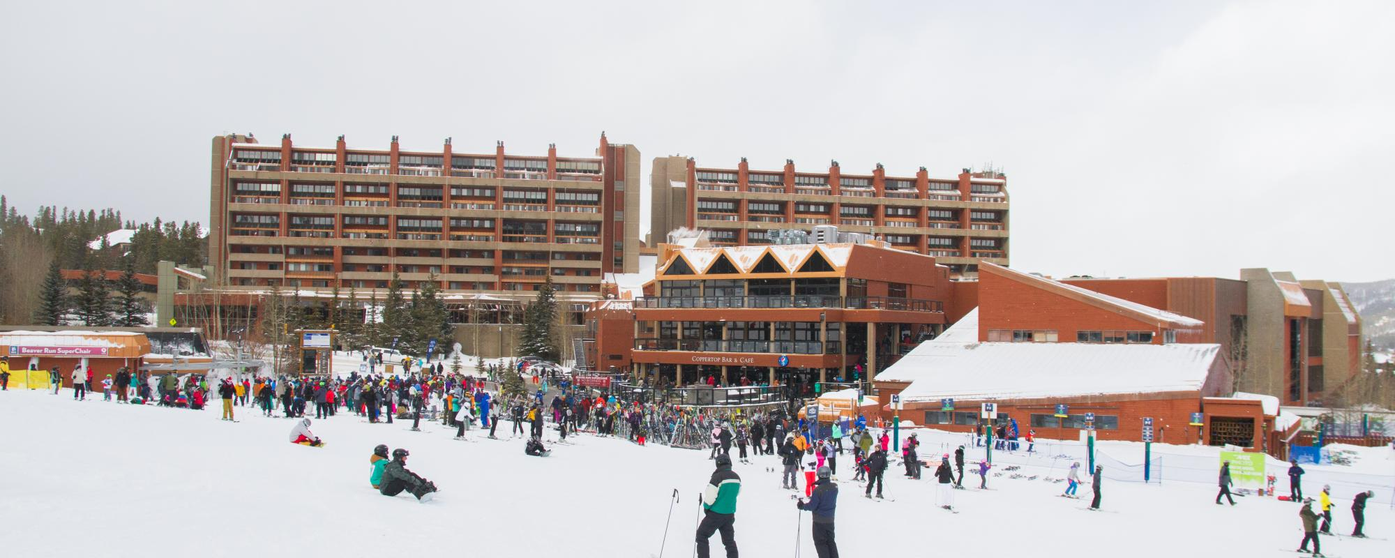 beaver run in the winter with people skiing