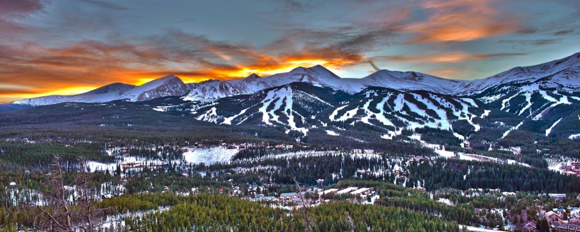 winter sunset in Breckenridge