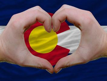 Colorado flag with heart around it