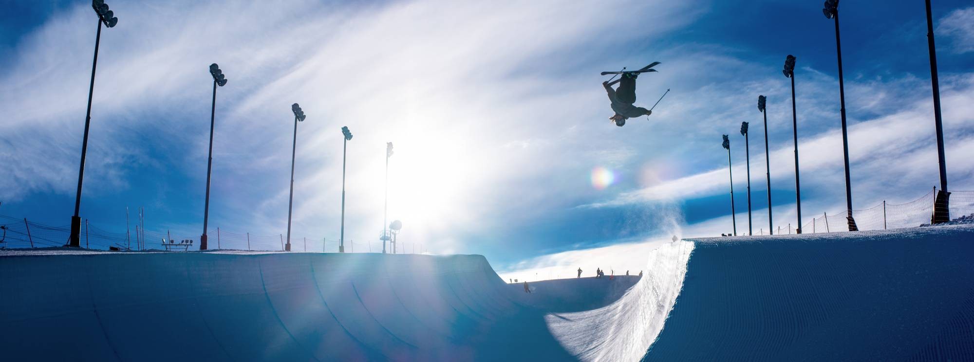 Skier in a half pipe
