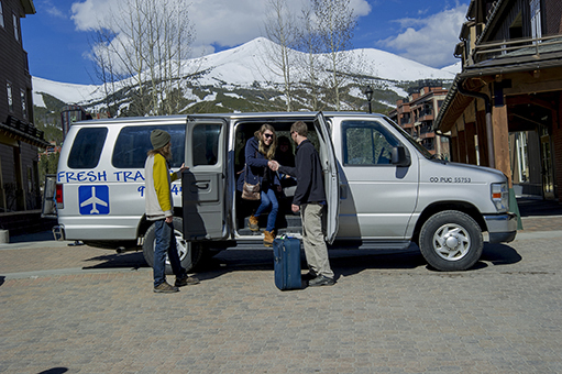 Airport shuttle driving to Breckenridge