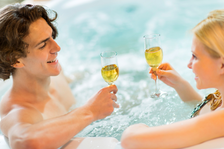 Couple Relaxing in Hot Tub at Beaver Run Spa